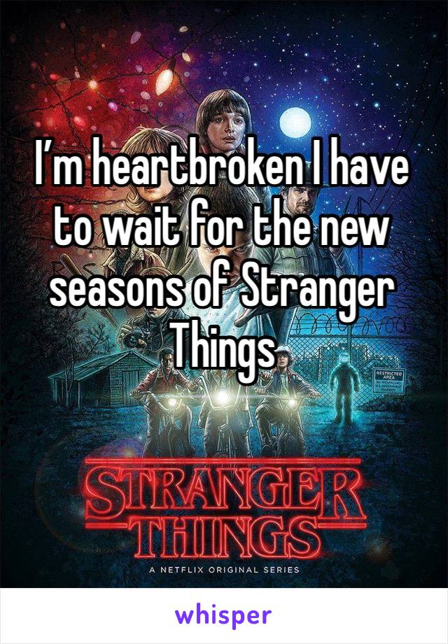 I'm heartbroken I have to wait for the new seasons of Stranger Things