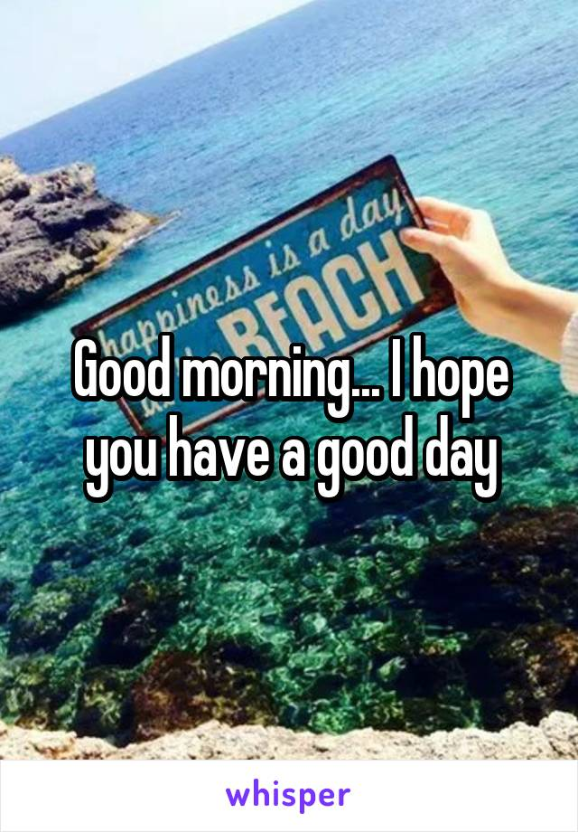Good morning... I hope you have a good day