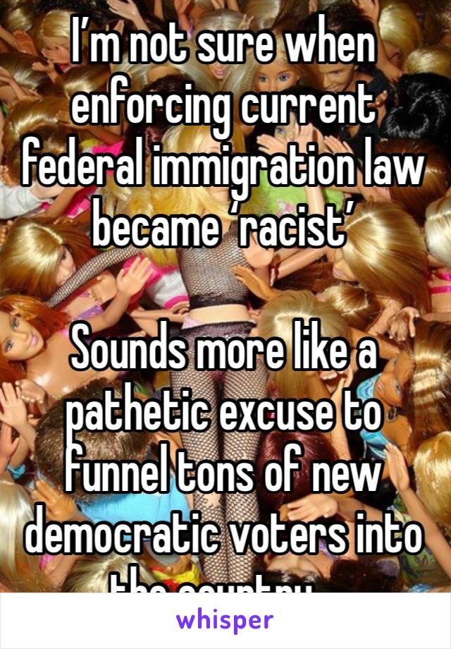 I'm not sure when enforcing current federal immigration law became 'racist'  Sounds more like a pathetic excuse to funnel tons of new democratic voters into the country...