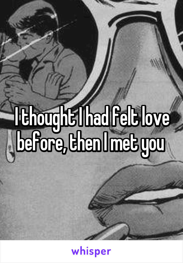 I thought I had felt love before, then I met you