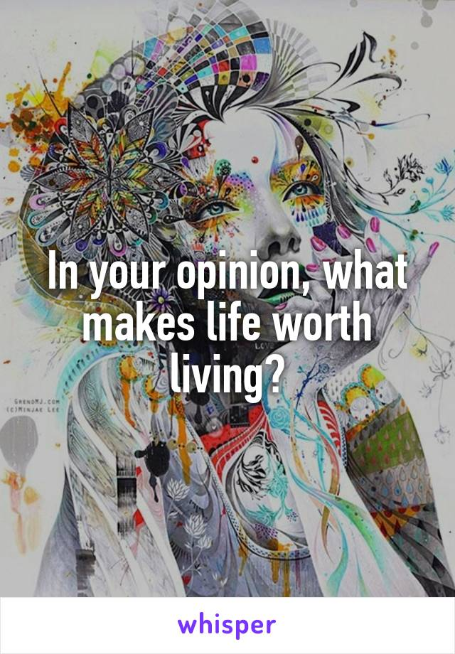 In your opinion, what makes life worth living?