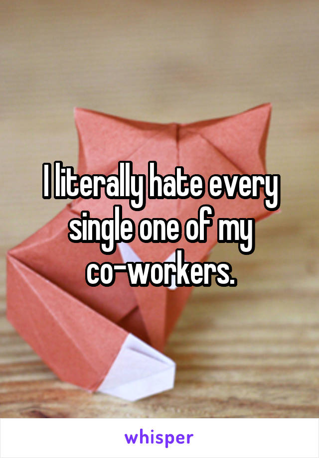 I literally hate every single one of my co-workers.