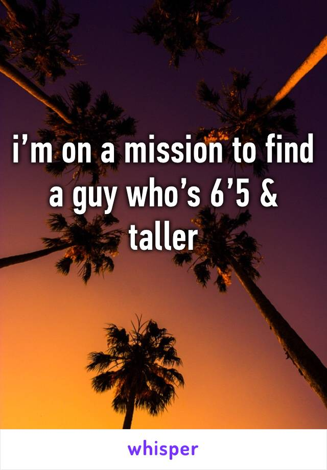 i'm on a mission to find a guy who's 6'5 & taller