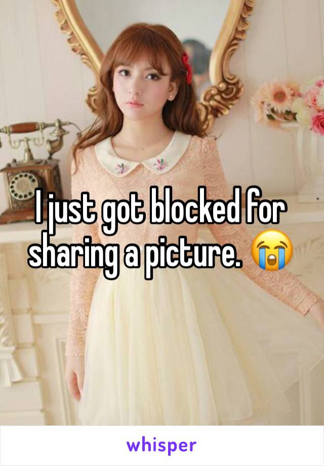 I just got blocked for sharing a picture. 😭