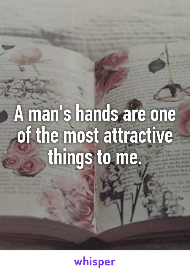A man's hands are one of the most attractive things to me.
