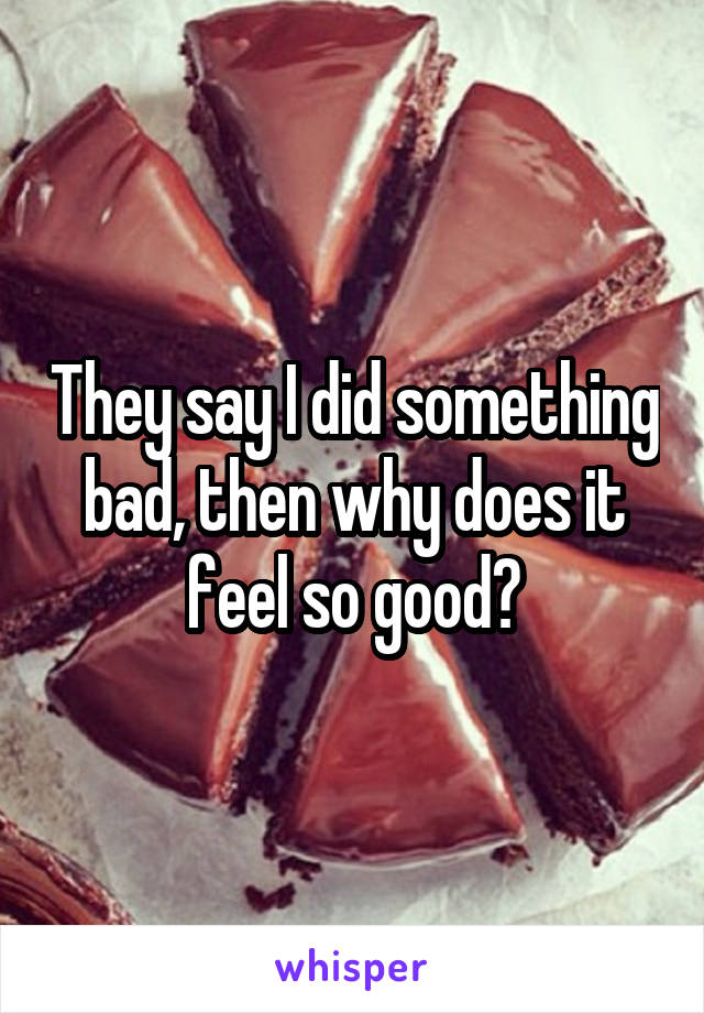 They say I did something bad, then why does it feel so good?