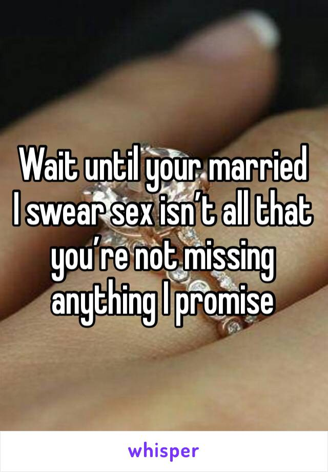 Wait until your married  I swear sex isn't all that you're not missing anything I promise