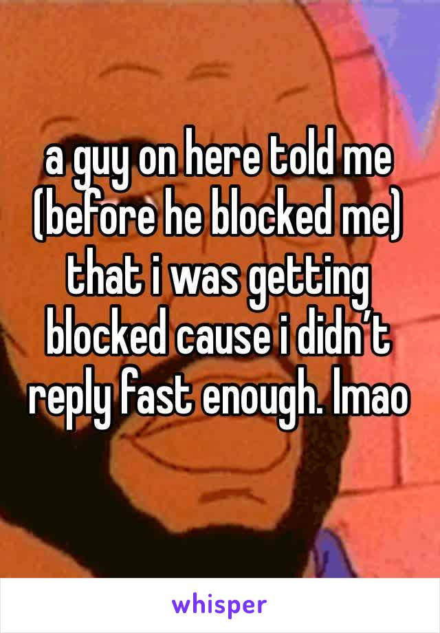 a guy on here told me (before he blocked me) that i was getting blocked cause i didn't reply fast enough. lmao