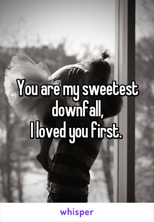 You are my sweetest downfall, I loved you first.