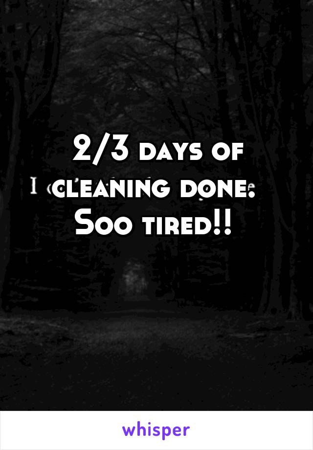 2/3 days of cleaning done.  Soo tired!!