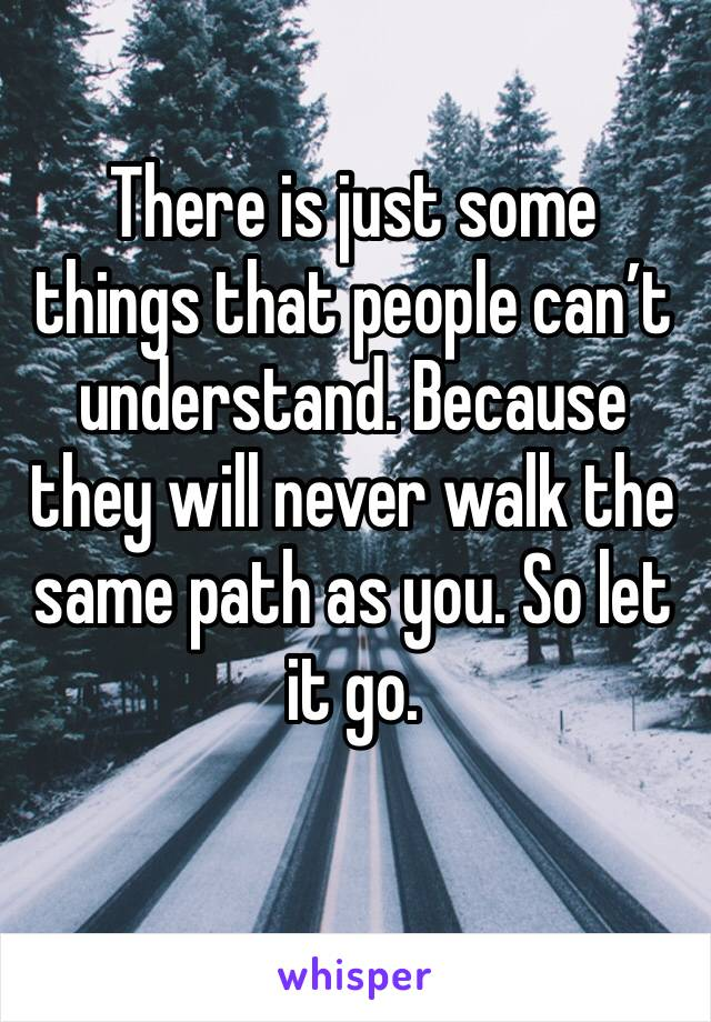 There is just some things that people can't understand. Because they will never walk the same path as you. So let it go.