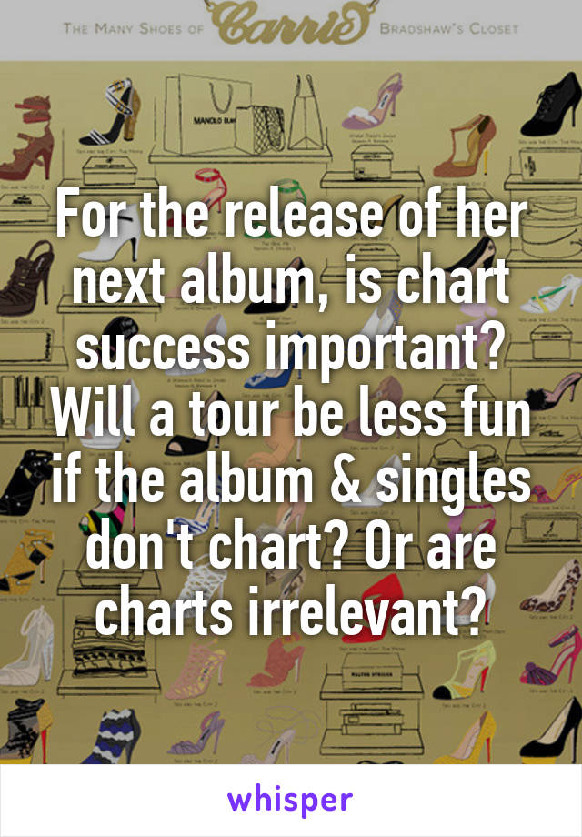 For the release of her next album, is chart success important? Will a tour be less fun if the album & singles don't chart? Or are charts irrelevant?