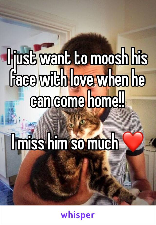 I just want to moosh his face with love when he can come home!!  I miss him so much ❤️