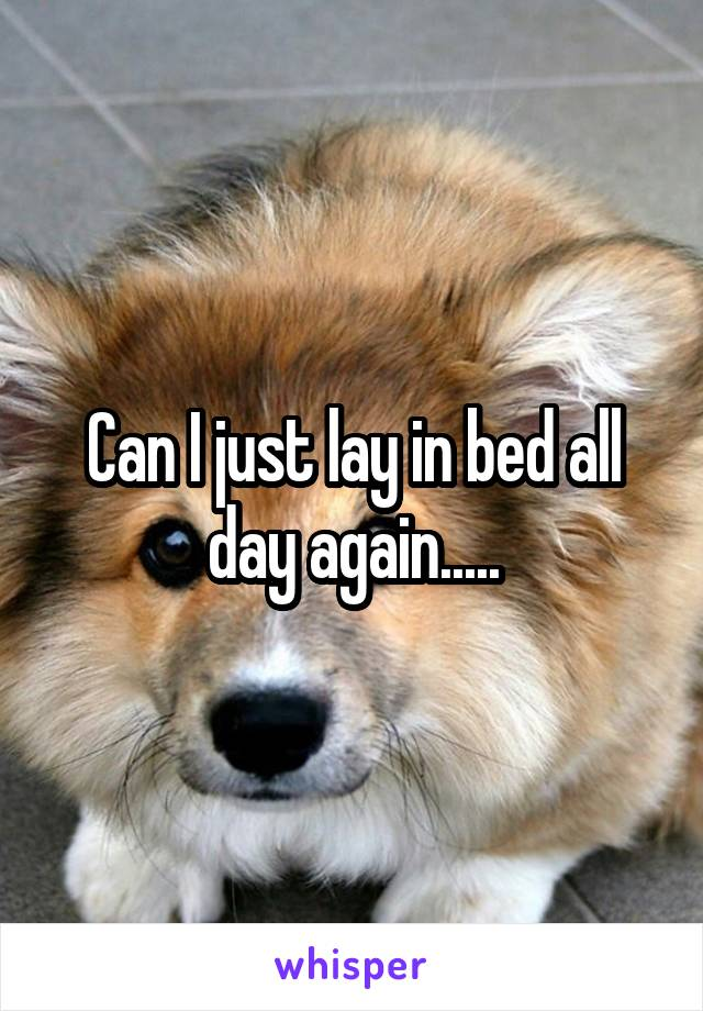 Can I just lay in bed all day again.....