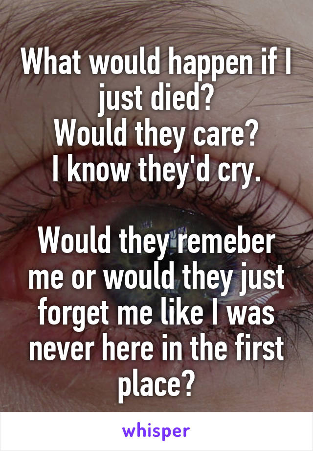 What would happen if I just died? Would they care? I know they'd cry.  Would they remeber me or would they just forget me like I was never here in the first place?