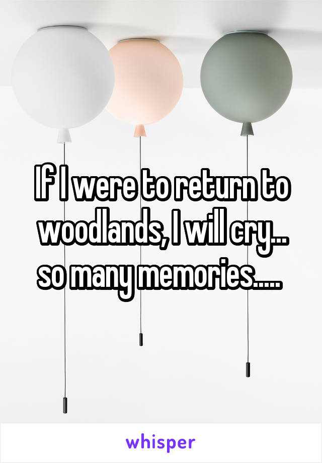If I were to return to woodlands, I will cry... so many memories.....