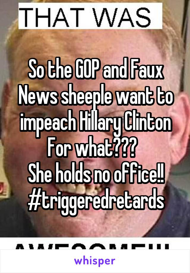So the GOP and Faux News sheeple want to impeach Hillary Clinton For what???   She holds no office!! #triggeredretards
