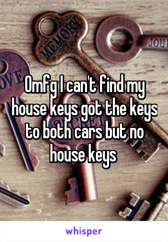 Omfg I can't find my house keys got the keys to both cars but no house keys