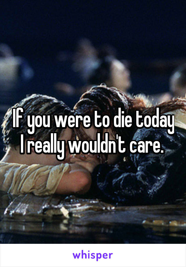 If you were to die today I really wouldn't care.