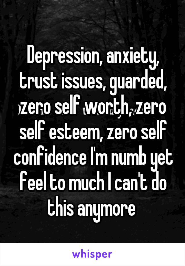 Depression, anxiety, trust issues, guarded, zero self worth, zero self esteem, zero self confidence I'm numb yet feel to much I can't do this anymore