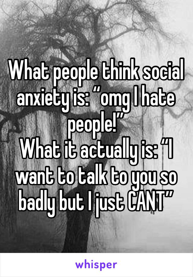 """What people think social anxiety is: """"omg I hate people!"""" What it actually is: """"I want to talk to you so badly but I just CANT"""""""