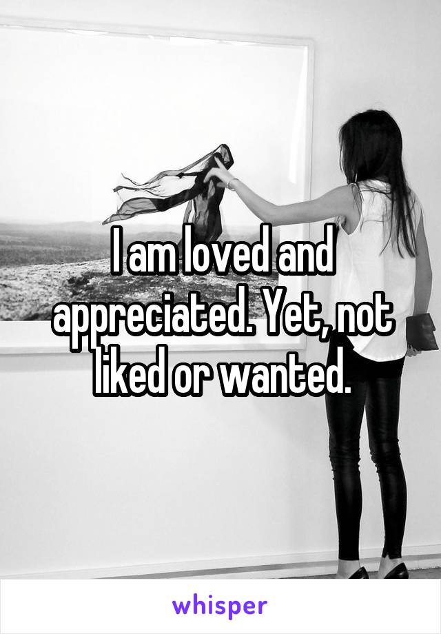 I am loved and appreciated. Yet, not liked or wanted.