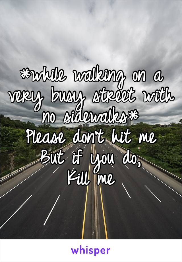 *while walking on a very busy street with no sidewalks* Please don't hit me But if you do, Kill me