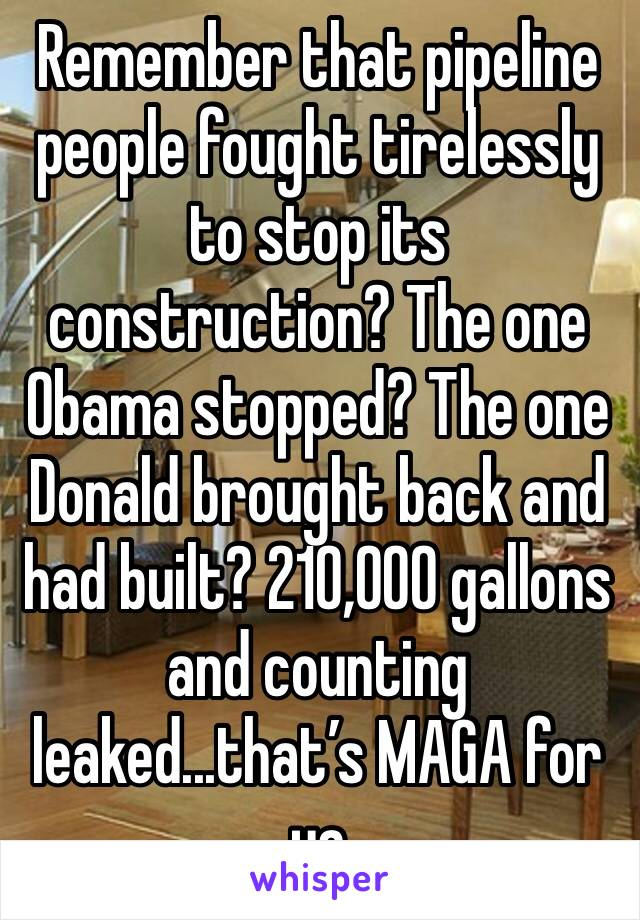 Remember that pipeline people fought tirelessly to stop its construction? The one Obama stopped? The one Donald brought back and had built? 210,000 gallons and counting leaked...that's MAGA for ya
