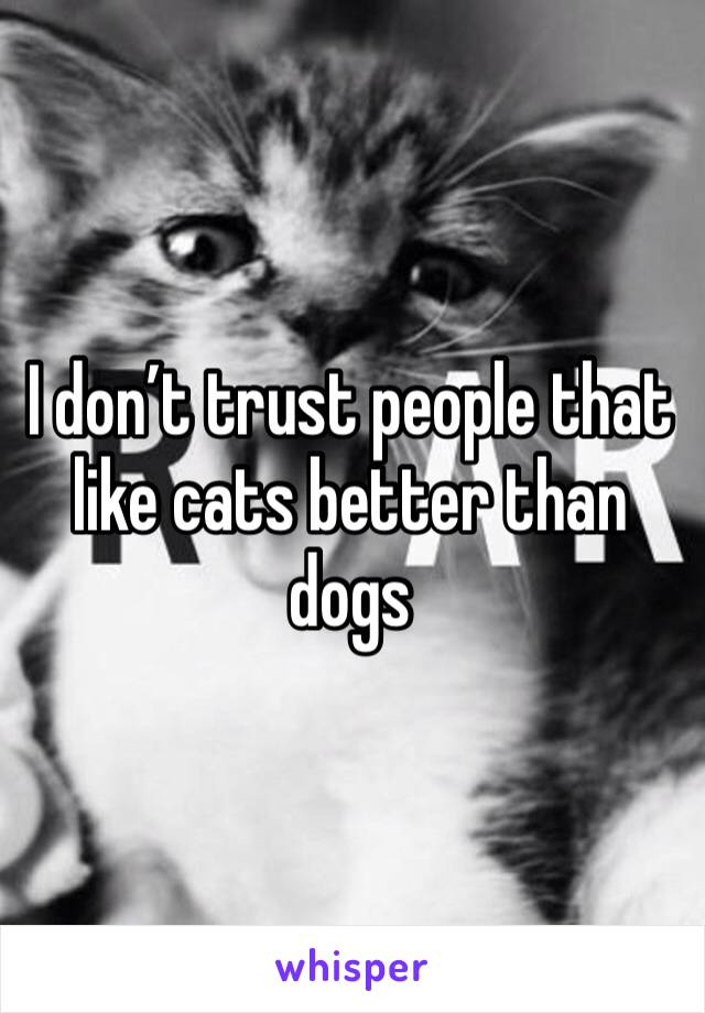 I don't trust people that like cats better than dogs