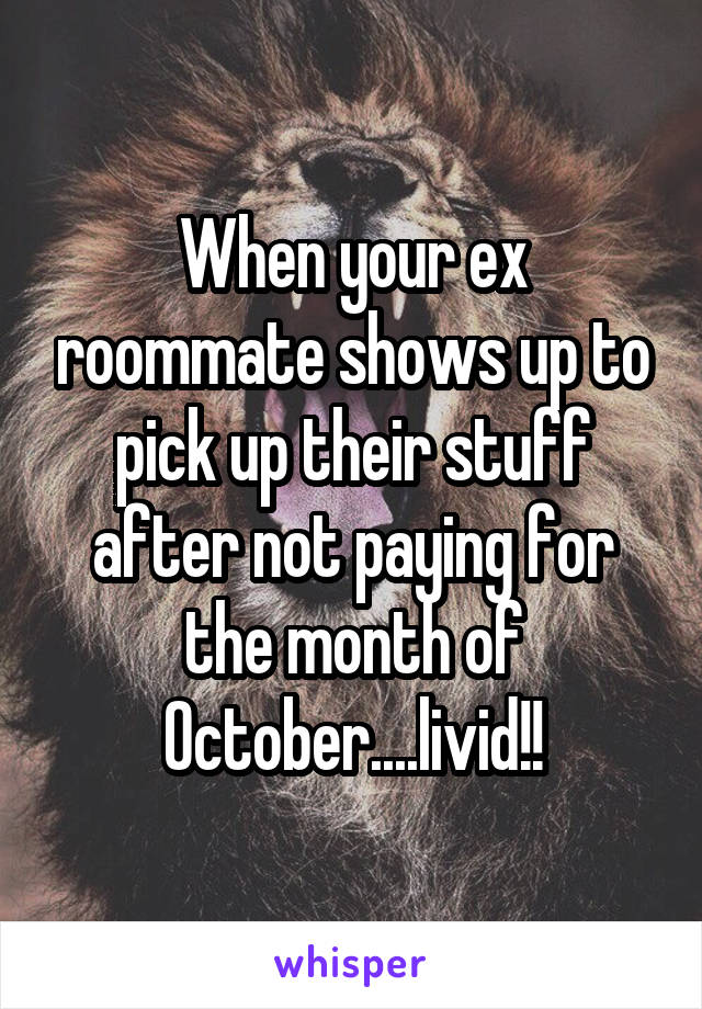 When your ex roommate shows up to pick up their stuff after not paying for the month of October....livid!!