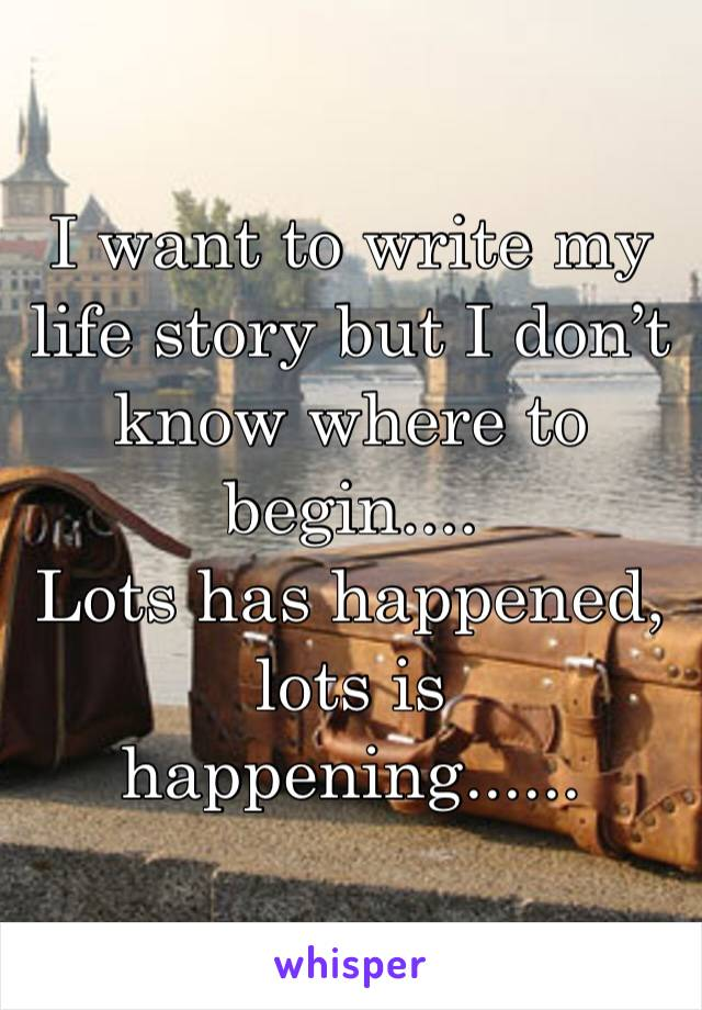I want to write my life story but I don't know where to begin.... Lots has happened, lots is happening......