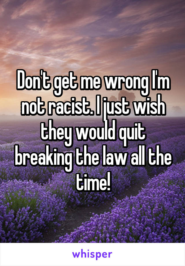 Don't get me wrong I'm not racist. I just wish they would quit breaking the law all the time!