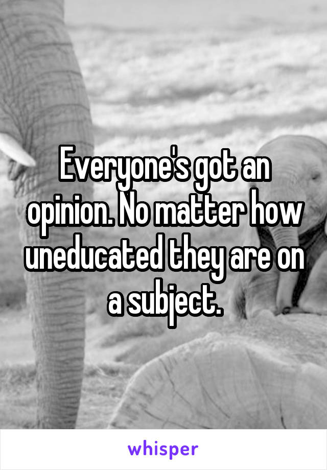 Everyone's got an opinion. No matter how uneducated they are on a subject.
