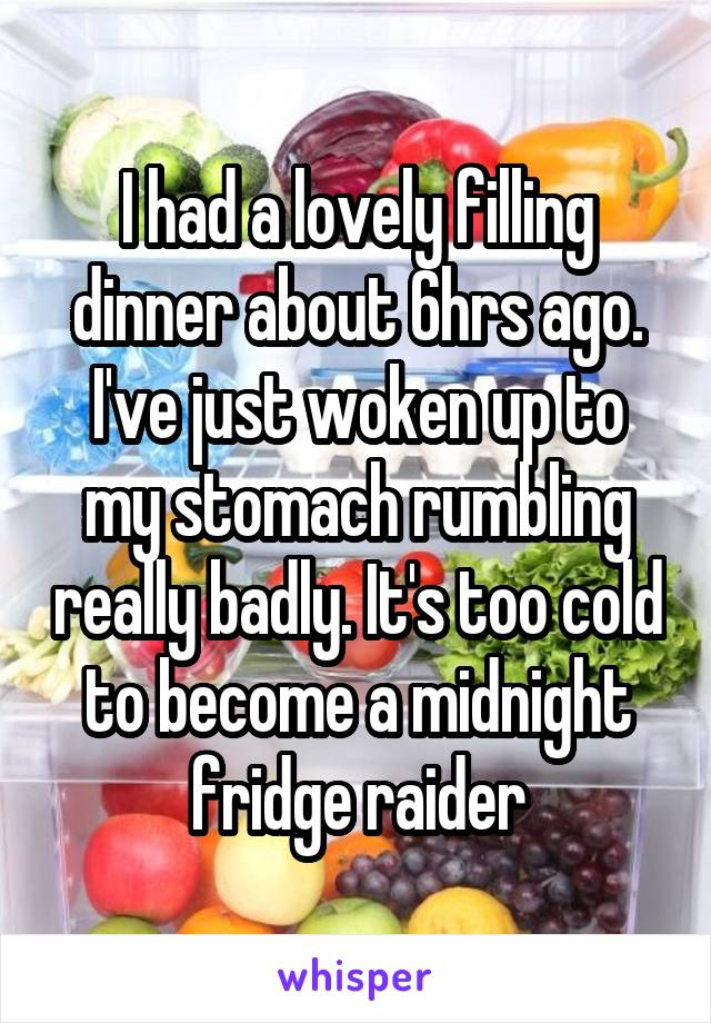 I had a lovely filling dinner about 6hrs ago. I've just woken up to my stomach rumbling really badly. It's too cold to become a midnight fridge raider