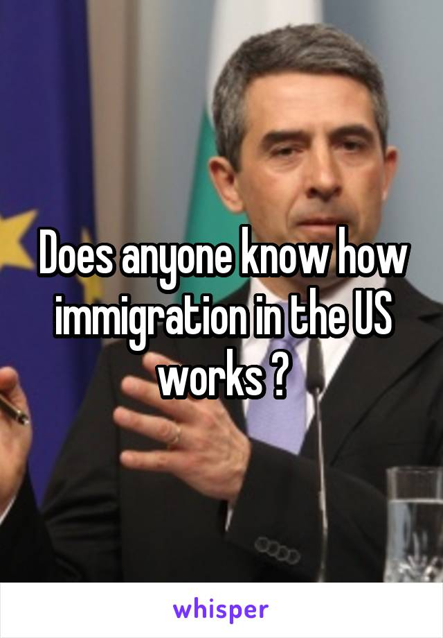 Does anyone know how immigration in the US works ?