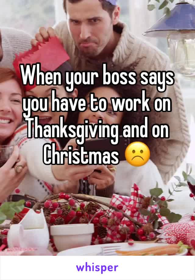 When your boss says you have to work on Thanksgiving and on Christmas ☹️