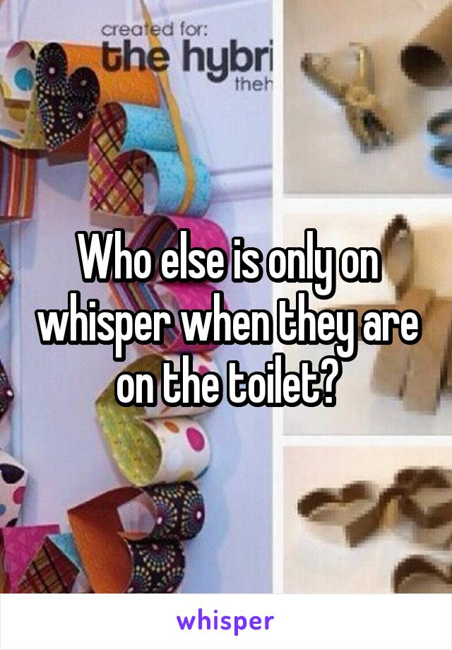Who else is only on whisper when they are on the toilet?