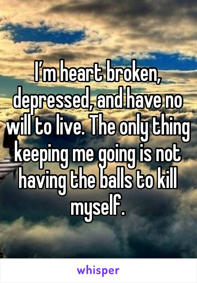 I'm heart broken, depressed, and have no will to live. The only thing keeping me going is not having the balls to kill myself.