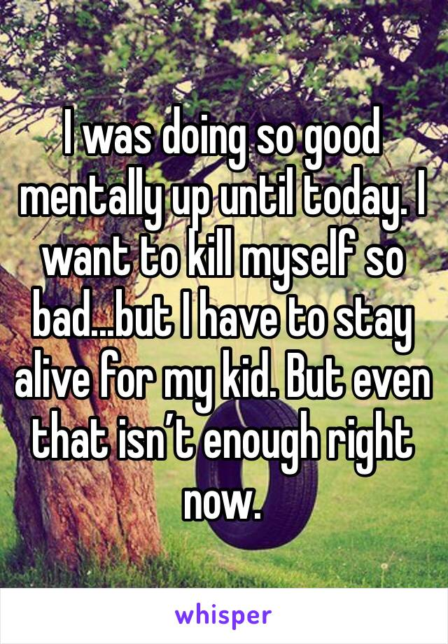 I was doing so good mentally up until today. I want to kill myself so bad...but I have to stay alive for my kid. But even that isn't enough right now.