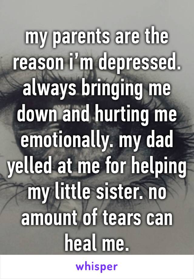 my parents are the reason i'm depressed. always bringing me down and hurting me emotionally. my dad yelled at me for helping my little sister. no amount of tears can heal me.