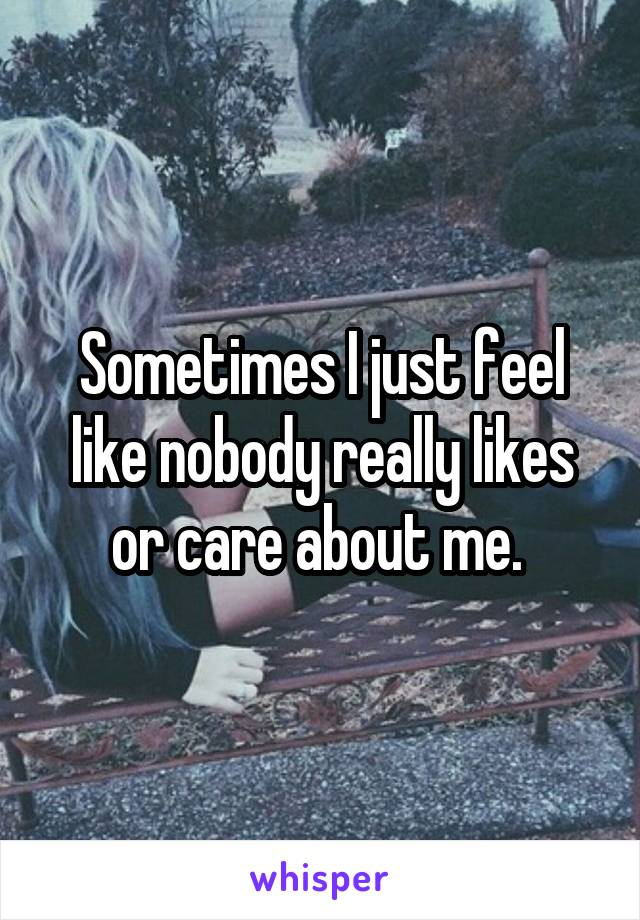 Sometimes I just feel like nobody really likes or care about me.