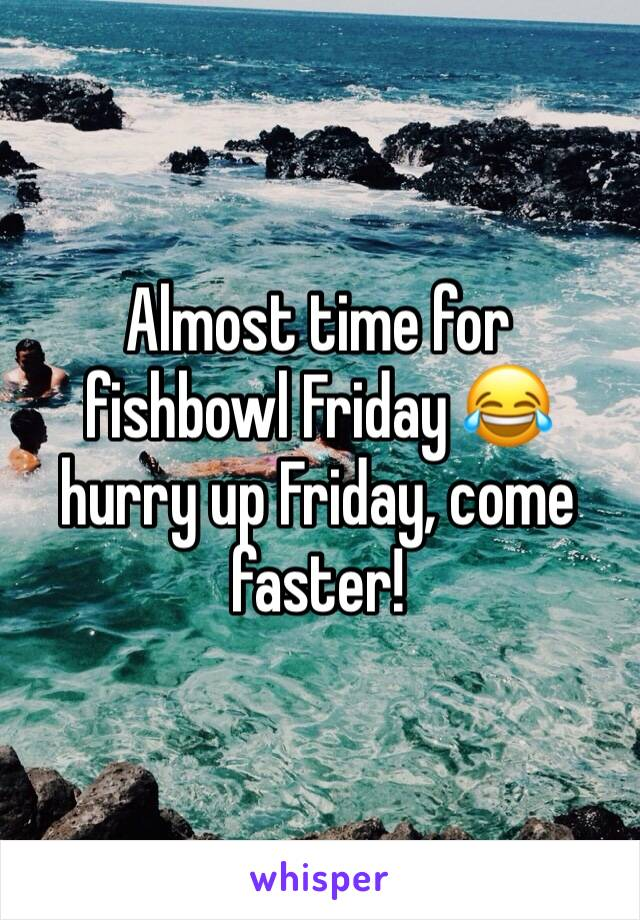 Almost time for fishbowl Friday 😂 hurry up Friday, come faster!