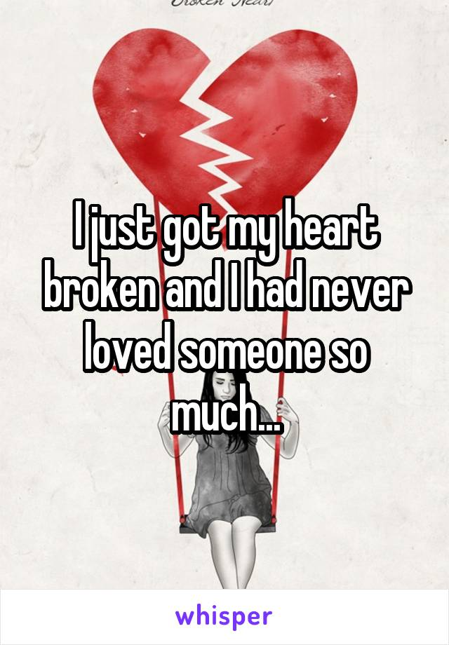 I just got my heart broken and I had never loved someone so much...