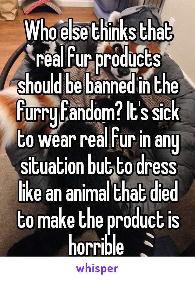Who else thinks that real fur products should be banned in the furry fandom? It's sick to wear real fur in any situation but to dress like an animal that died to make the product is horrible
