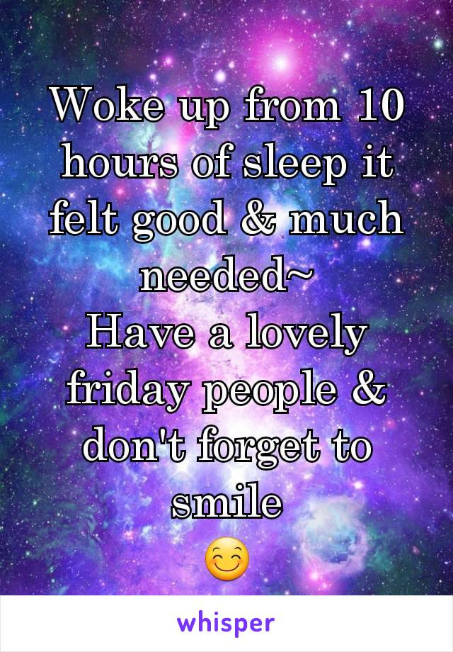 Woke up from 10 hours of sleep it felt good & much needed~ Have a lovely friday people & don't forget to smile 😊