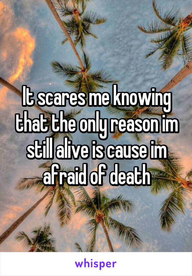 It scares me knowing that the only reason im still alive is cause im afraid of death
