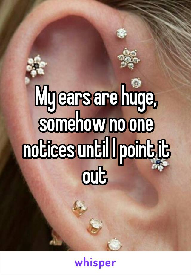 My ears are huge, somehow no one notices until I point it out