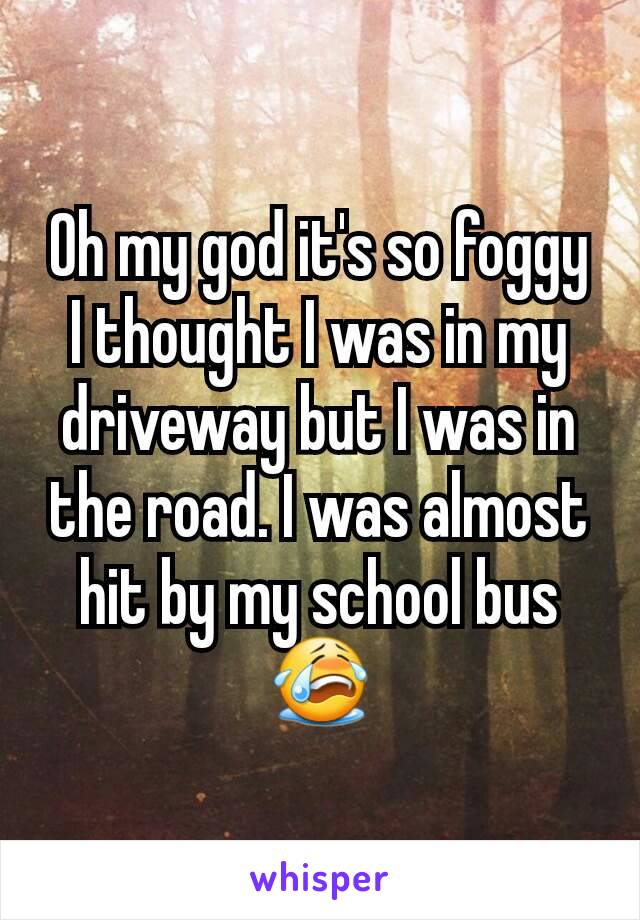 Oh my god it's so foggy I thought I was in my driveway but I was in the road. I was almost hit by my school bus 😭