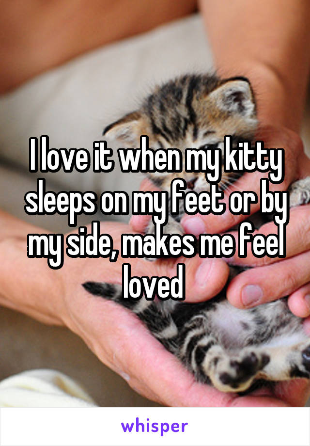 I love it when my kitty sleeps on my feet or by my side, makes me feel loved