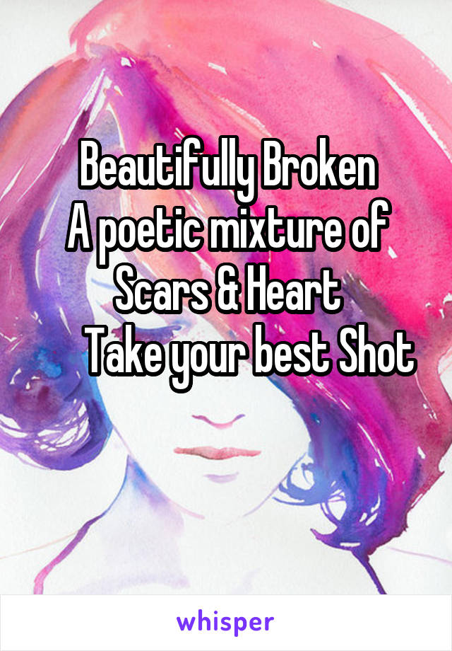 Beautifully Broken A poetic mixture of Scars & Heart      Take your best Shot